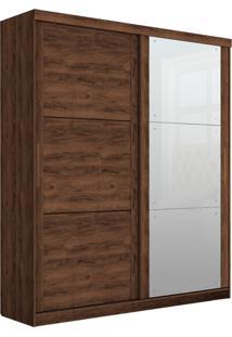 Guarda-Roupa Prático Robel Jacaranda Madeirado 2 Portas De Correr Com 3 Espelhos