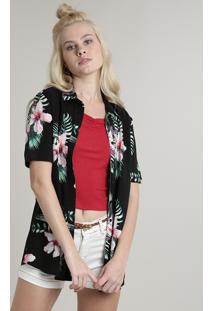 Camisa Feminina Estampada Floral Com Fenda Manga Curta Preta