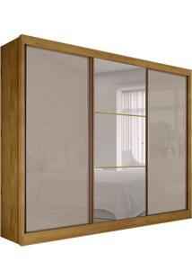 Guarda-Roupa Casal Com Espelho Rennes Gold Ii 3 Pt Freijó Dourado E Off White