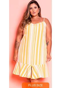 Vestido Curto Catarina Listras Amarelo Plus Size