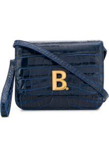 Balenciaga Logo Plaque Crocodile Effect Cross Body Bag - Azul