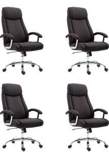 Conjunto Com 4 Cadeiras De Escritório Presidente Canaman Preto