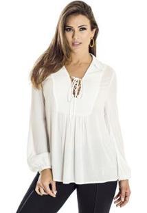 Camisa Amarração Ana Hickmann - Feminino-Off White