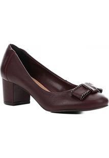 Scarpin Couro Shoestock Salto Bloco Laço - Feminino-Vinho
