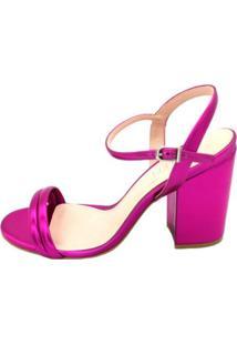 Sandalia Di Valentini Salto Bloco Metalizada Pink
