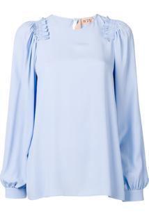 Nº21 Ruffle Trim Blouse - Azul