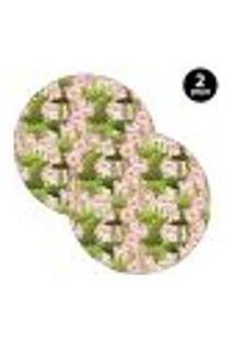 Sousplat Mdecore Floral 35X35Cm Verde 2Pçs