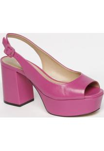 Sandã¡Lia Meia Pata Em Couro Com Fivela- Pink- Salto:Carrano