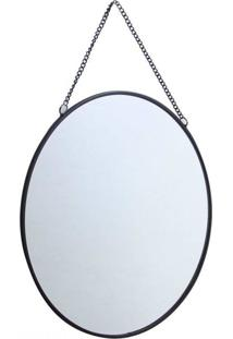 Espelho De Metal Prata Redondo 20 Cm