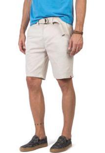 Bermuda Chino Flex Com Cinto Chino Taco Masculina - Masculino-Off White