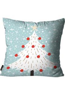 Capa Para Almofada Mdecore Natal Arvore De Natal Azul 45X45Cm