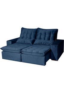 Sofá Star Luxo Com Espuma Viscoelástico - Retrátil E Reclinável - Azul - 210Cm