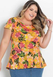 Blusa Peplum Plus Size Floral Laranja
