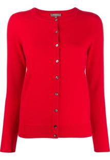 N.Peal Cardigan Decote Arredondado - Vermelho