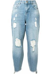Twinset Calça Jeans Cropped Cintura Alta - Azul