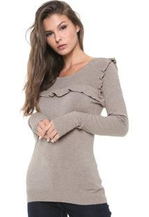 Suéter Facinelli By Mooncity Tricot Babados Bege