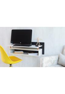 Escrivaninha Para Quarto Suspensa Preta Com Branco Paul Woodinn - 90X38,5X30 Cm
