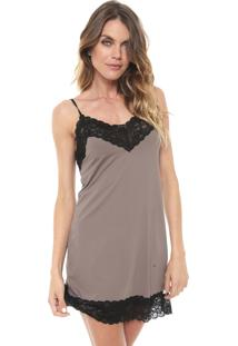 Camisola Hope Curta Renda Marrom