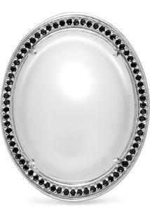 Anel Prata Cristal Leitoso E Espinã©Lios