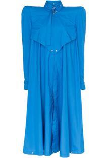 Montana Pelerine Longo Com Ombros Estruturados - Azul