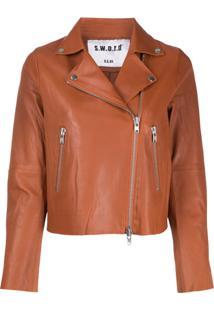 S.W.O.R.D 6.6.44 Zipped Biker Jacket - Marrom