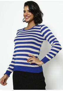 Blusa Em Tricot Listrada- Azul & Bege- Ponto Aguiarponto Aguiar