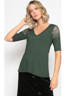 Blusa Com Recortes & Renda- Verde Escuro- Thiptonthipton