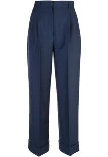 Fendi Calça De Lã Plissada - Azul