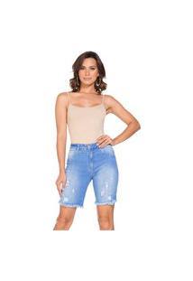 Bermudáo Jeans Confort Cintura Alta Lúcia Figueredo Rasgada Azul