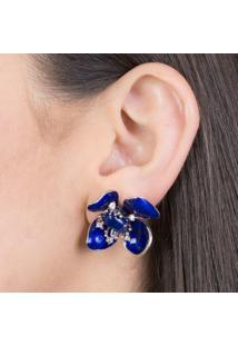 Brinco De Flor Esmaltado Em Azul Com Zircônias De Cristal Banhado Em Ródio