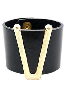 Pulseira Crisfael Acessórios Larga Com Aplique De Metal Dourado 01 Preto