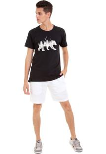 Camiseta Joss Florest Bear Branco Preto