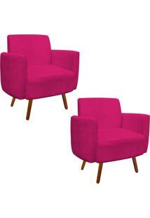 Kit 02 Poltrona D'Rossi Decorativa Agatha Suede Pink Braã§Os Curvos - Rosa - Dafiti