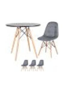 Conjunto - Mesa Eames 80 Cm Preto + 3 Cadeiras Eames Eiffel Botonê Cinza Escuro