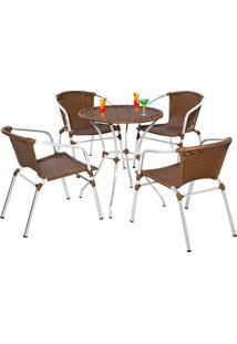 Conjunto Mesa Com 4 Cadeiras Florida-Metal Do Brasil - Avela Envelhecido