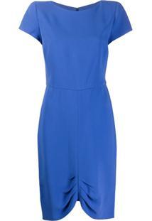 Emporio Armani Vestido Mangas Curtas Franzido - Azul