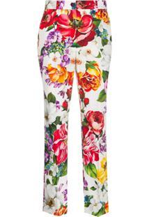 Dolce & Gabbana Calça Cropped Floral - Branco