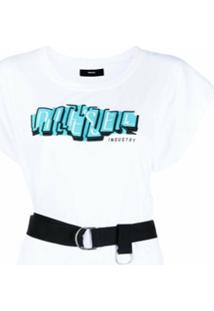 Diesel Vestido Reto Com Estampa De Logo - Branco