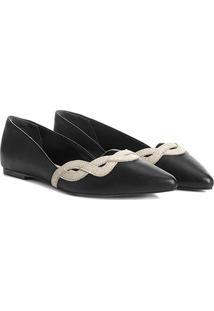 Sapatilha Couro Shoestock Bico Fino Ondas Feminina - Feminino-Preto+Off White