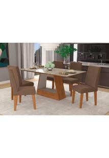 Conjunto De Mesa De Jantar Retangular Alana Com 6 Cadeiras Milena Suede Chocolate E Off White