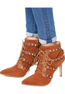 Ankle Boot Couro Jorge Bischoff Tachas Caramelo