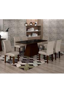 Conjunto De Mesa De Jantar Luna Com 6 Cadeiras Ane I Linho Castor E Preto