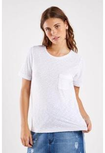 Blusa Malha Básica Flame Color Sacada Feminina - Feminino-Branco