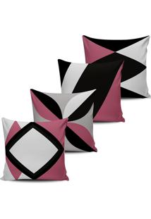 Kit 4 Capas Almofadas Decorativas Abstrata Rosa Cassis 45X45