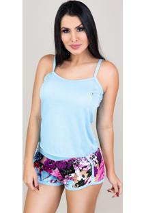 Pijamas Mvb Modas Curto Adulto Regata E Short Doll Azul - Kanui