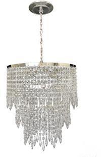 Lustre Lina Design Redondo Cristal Acrílico Bivolt Itália 40X75 Prata