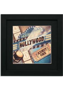 Quadro De Aviso Hollywood 36X36Cm Preto Kapos