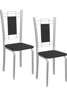 Kit Com 02 Cadeiras Florença Cromada - 2C005Cr - 110 - Assento Corino Preto - Kappesberg