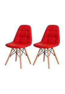 Kit 2 Cadeiras Eiffel Botone Eames Dsw Vermelha Base Madeira Sala Cozinha Jantar