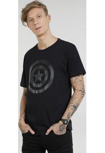 Camiseta Masculina Capitão América Manga Curta Gola Careca Preta